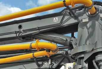 Reduced boom width Distributor booms from Liebherr are available in roll-fold, Z-fold or multi-fold designs (depending on the respective type) featuring three, four or five boom elements.