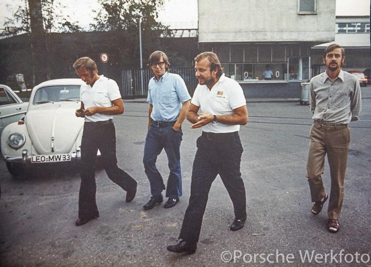 Design Chief Anatole Lapine (front-centre with white shirt) with colleagues in Zuffenhausen in front of Werk 2, ca. 1973 But the 911 had undoubtedly got to be sorted out.