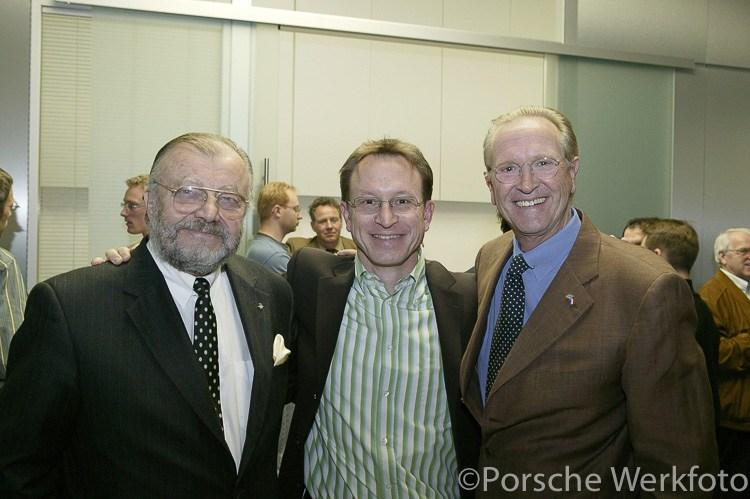 At the retirement party for Peter Reisinger on 29 April 2005, design colleagues Anatole Lapine, Grant Larson and Harm Lagaaij, enjoy the festivities But with Fuhrmann s verbot on 911 development
