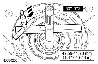 Page 12 of 22 2.56-2.46 mm (0.101-0.097 in) 25. Using the special tool, measure end clearance for the No. 1 front pump thrust washer. 1. Position the special tool on the pump case mounting surface.
