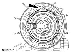 123 in) Blue 26. If equipped, install the intermediate clutch anti-rattle clip. 27. NOTE: Note the location of the pump check ball and align the return spring indent.