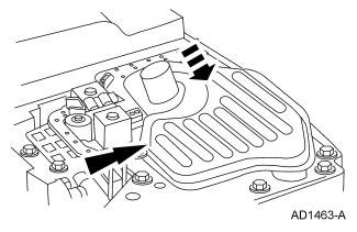 If not damaged, the transmission fluid pan gasket should be reused. Install the transmission fluid pan and gasket. 1.