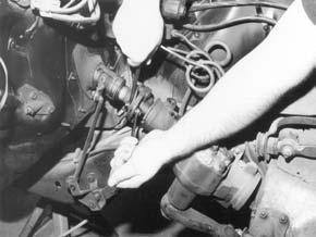 Disconnect the steering column from the rag joint using