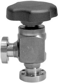 UHV All-Metal Right-Angle Valves Advantages to the User - Leak rate at the valve seat below 10-11 mbar x l x s -1 - Absolutely reliable sealing of valve seat The all-metal right-angle valves are of a