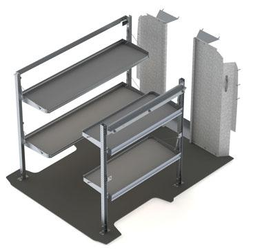"delivery 8472-2 RPS-19 118"" OR 136"" WHEELBASE Low or High Roof Qty Part # Description 1 8448-2 Fold-away shelving unit, 2 levels, 21"" D 55"" W 63."