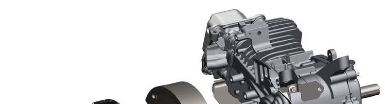 2) Align the keyway in the flywheel (M) to the key in the crankshaft and press the flywheel