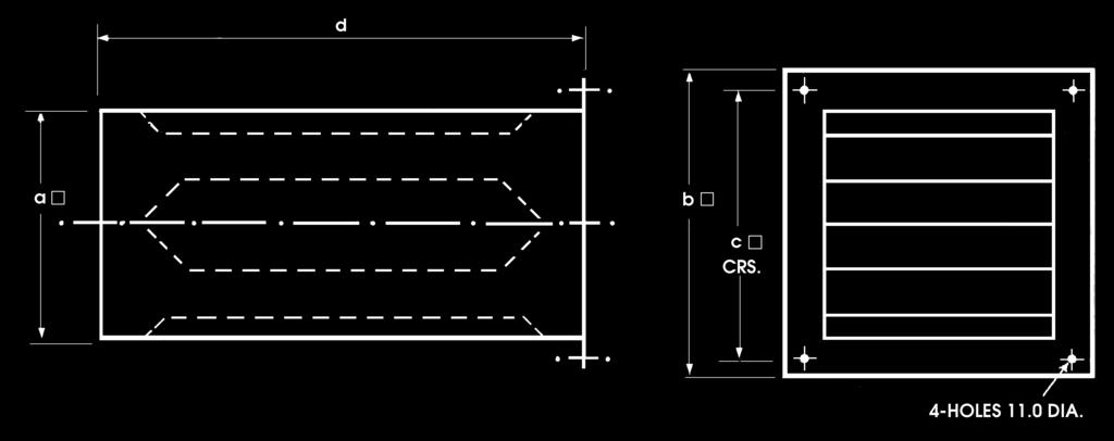 mild steel) b a b c 2 3 4 5 6 7 8 9 Typical Installation Optional bird guard MEAN DUCT VELOCITY m/s Stock Kg Free Resistance Ref a b c d approx area m 2 curve RAZ36 455 535 5