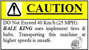 Maximum speed for agricultural tires is 25 mph or 40km/h. NOTE: Warranty does not cover damaged rims and hubs due to loose wheel bolts.