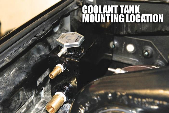 Step 49: Prep the coolant tank by installing all of the fittings