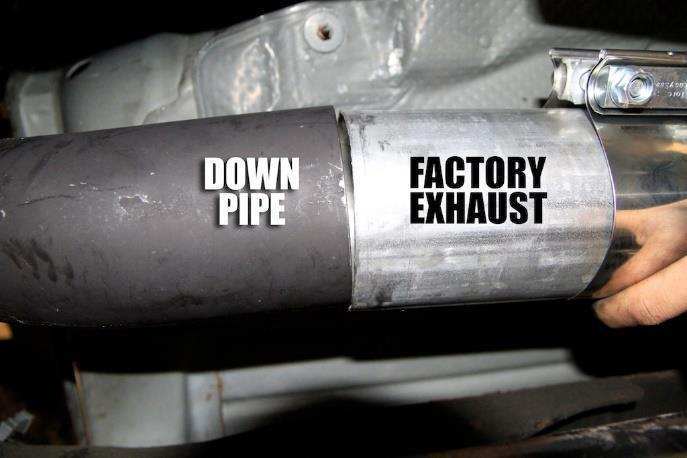 (B) Then hold pipe up to exhaust and make a mark were it needs to be cut.