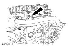 Discard the 8 nuts. Discard the 2 gasket. Inspect the exhaust manifold. For additional information, refer to Section 303-00. 46.