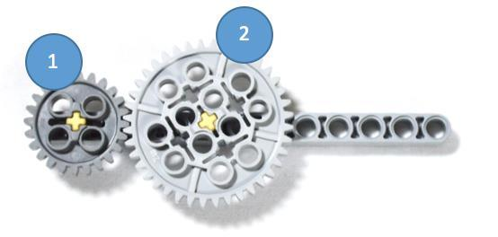 66 Answer the questions below ) Once again gear one has 24 teeth and gear two has 40 teeth.
