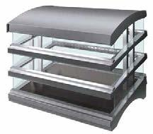 Blanket-style heating elements in the hardcoated base that are thermostatically-controlled The transparent shelf utilizes a patented heated glass, which radiates heat down while conducting heat up,