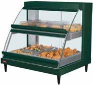 Heated Merchandisers Glo-Ray Designer Heated Display Cases Our Designer series Glo-Ray Heated Display Case with curved glass and incandescent lighting will display your offering with flare and