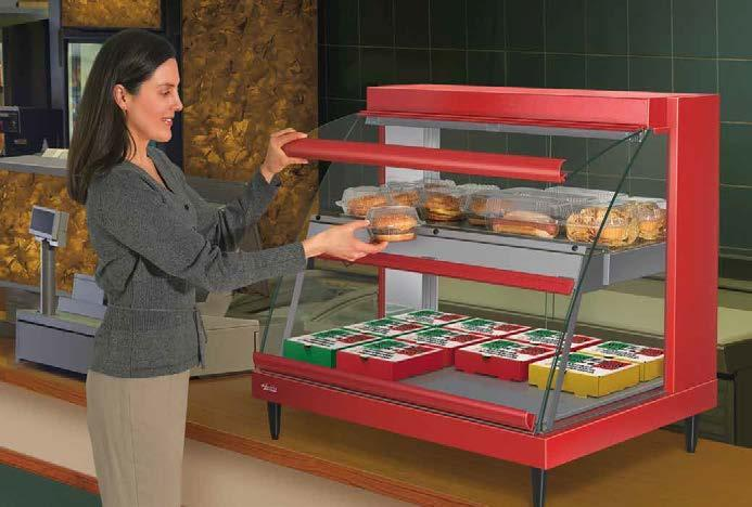 Heated Merchandisers GRCD-2PD with optional flip-up doors and Designer color OPTIONS (available at time of purchase only) Self-Closing Flip-Up Doors on both shelves on Customer side in lieu of Glass