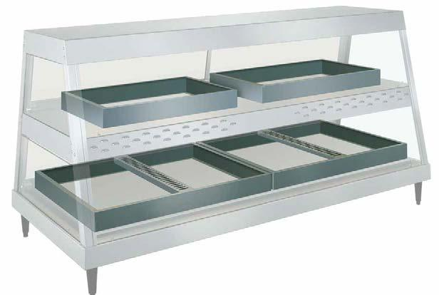 GRHD-4PD with optional pan skirts Top shelf: two SKIRT-1P Bottom shelf: one SKIRT-4P Heated Merchandisers OPTIONS (available at time of purchase only) SKIRT-2P 2-Pan model Pan Skirt for 64 D mm pans