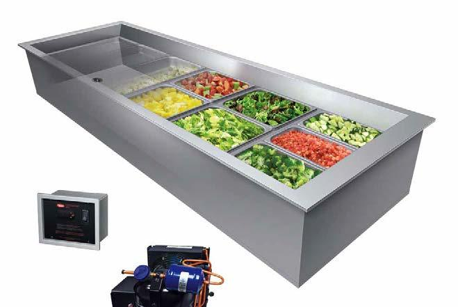 Remote Refrigerated Drop-In Wells Ordering Instructions Cutaway of CWBX-6 with accessory food pans Larger drain ensures easy cleaning Exclusive flat screen design ensures that pans sit flush Cold