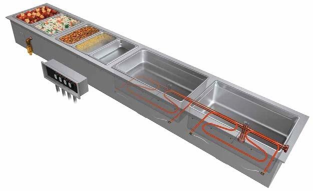 Modular/Ganged Slim Heated Wells Ordering Instructions Cutaway of HWBI-S4MA with accessory food pans and optional split control boxes Full-size Heated Well compartments can house a variety of pans