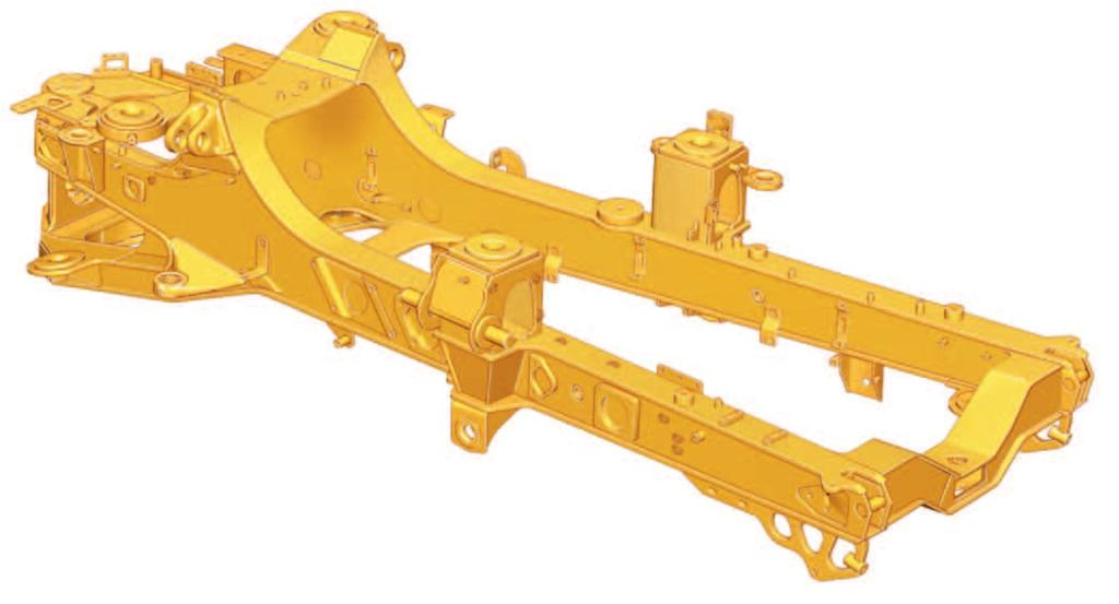 Rear Frame. Twin-box construction minimizes stress concentration and provides low weight with long service life. Castings.