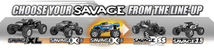 This RTR (Ready-To-Run) 1/8 scale monster truck features everything that s great about the Savage 4.6, like the massive power of the F4.6 engine and several standard option parts! The Savage X 4.