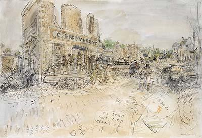 Date: 13 June 1944 Photo Courtesy of from IWM_ART_LD_004467 Liberation and Battle of France: Jerusalem Description: View across a bombed village