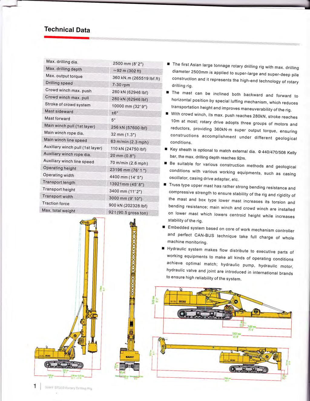 Technical Data r The first Asian large tonnage rotary drilling rig with max.