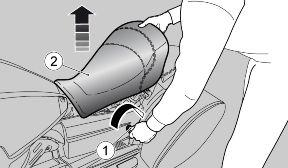Insert the key (1) in the lock located on the left fairing. Turn the key (1) clockwise and remove the saddle (2). There is a document compartment in the vehicle tail fairing.
