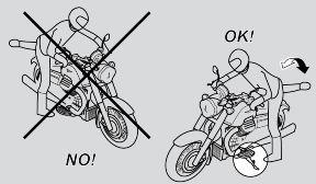 STOP THE VEHICLE MAINLY USING THE FRONT BRAKE. THE REAR BRAKE MUST ONLY BE USED TO BALANCE THE BRAKING EFFECT, AND ONLY TO- GETHER WITH THE FRONT BRAKE.