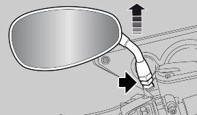 Rear-view mirrors removal: Rest the vehicle on its stand Loosen the locking nut Slide up and remove the complete rear-view mirror unit Repeat the procedure to remove