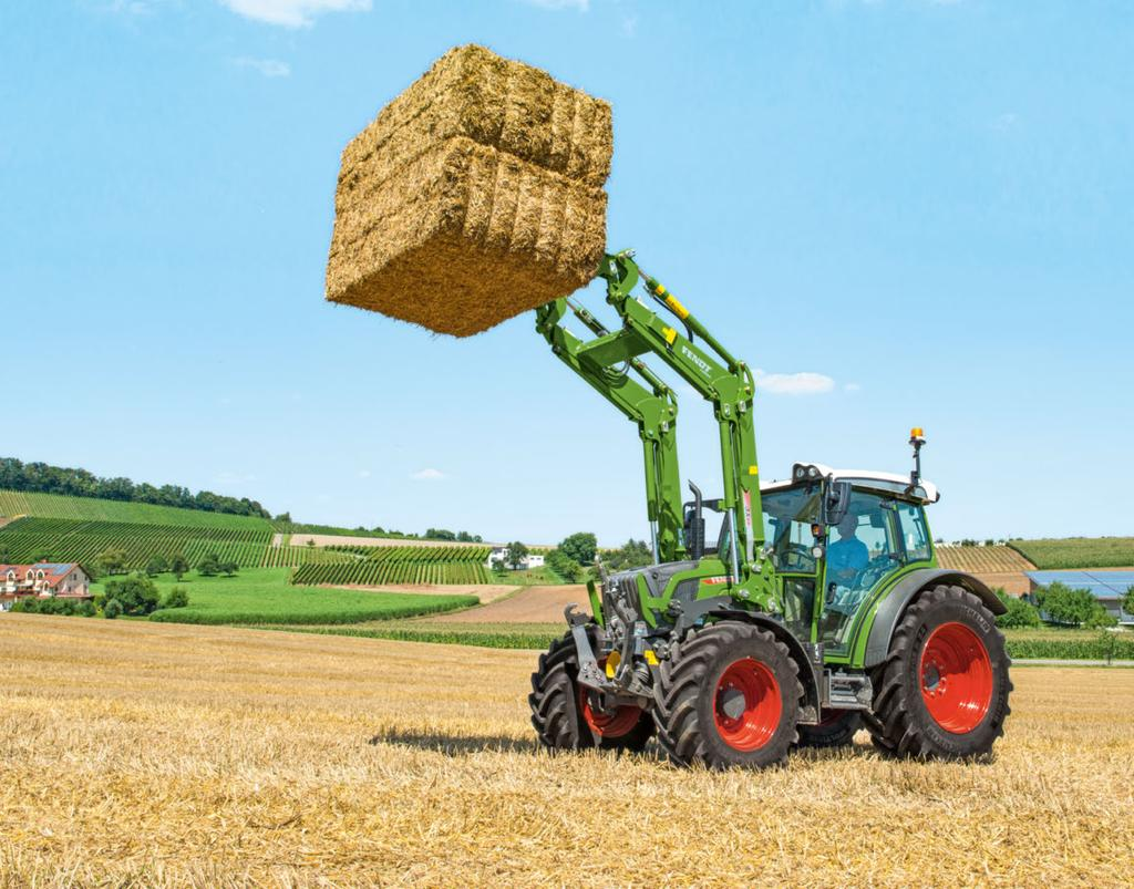 FENDT CARGOPROFI More gentle and efficient material handling. The front window opens out all the way, even with the front loader swing arm fully extended.