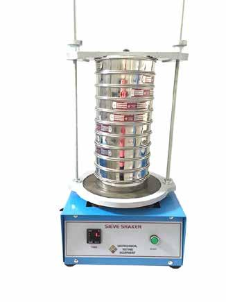 GEO TESTING EQUIPMENT Sieves Shaker The Sieve Shaker imparts a circular motion to the material being sieved so that it makes a slow progression over the surface of the sieve.