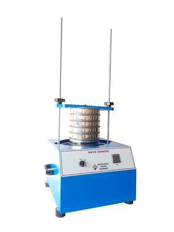 The shaker is fitted with timer which can be pre-set for any duration up to 60 minutes. This unit will accept 127inch, 200mm and 300mm sieves dia.