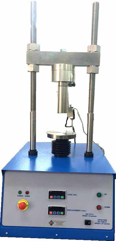GEO TESTING EQUIPMENT CBR Test Machine with Digital Readout Unit The CBR Test Machine with Digital Readout Unit is designed for performing laboratory evaluation of the CBR value of highway sub bases,