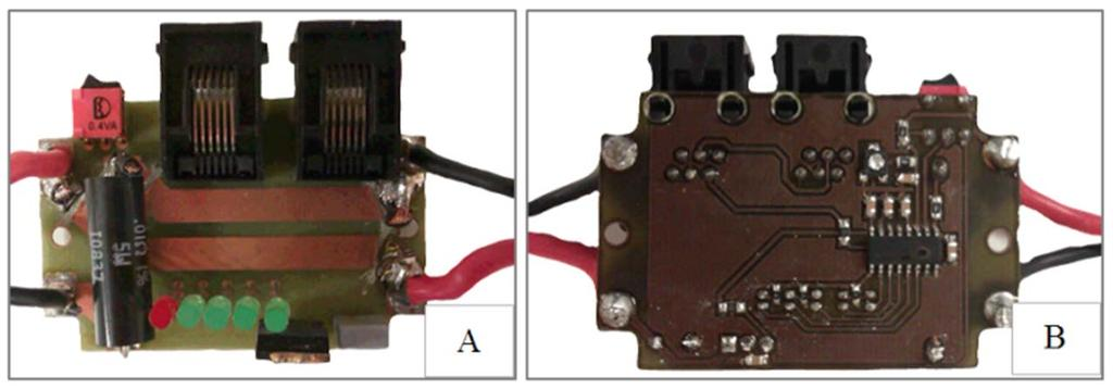 Figure 5. State of charge measuring prototype. A) Top view B) Bottom view. 3.