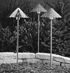 KICHLER LANDSCAPE LIGHTING DECORATIVE HAMMERED ROOF The decorative patterns of the pierced shade