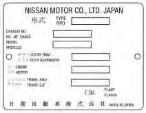 Identification Tags NISSAN TRANSMISSION IDENTIFICATION TAG MITSUBISHI TRANSMISSION