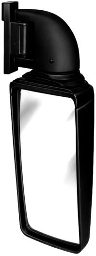 Bus Mirrors Coaches and overland buses e.g. for Berkhof, MAN, Neoplan and Van Hool Black plastic mirror head and arm. Driving mirror electrically adjustable. Wide-angle mirror manually adjustable.