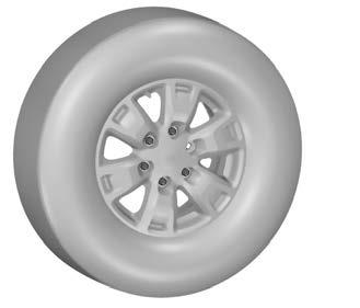 Wheels and Tires 3 1 5 6 E79156 2 4 E134693 3. Using the wheel brace, remove the lug nuts and the road wheel. Installing a Road Wheel WARNINGS Use only approved wheel and tire sizes.