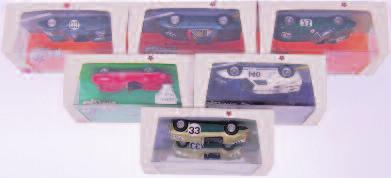 1/43rd scale Boxed Diecast Group, 5 examples, to include Bristol 401, Lagonda Rapide 1962, AC Greyhound, Jaguar MK10, and Bristol 405, all in the original plastic hard cases with card sleeves (NMM-