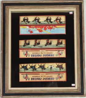 Lot 1276 1276 3 Framed and Glazed Pictures Depicting 4 Original Boxed Britains Set, to include No.115 Eqyptian Cavalry, No.77 Gordon Highlanders, No.1554 Royal Canadian (Mounted) Police, No.