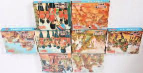 Commandos 100-120 Lot 1477 Lot 1478 1478 An Airfix H0/00 scale boxed action figure group, seven boxed as issued examples, to include Russian Infantry, RAF personnel, African Corps, Japanese Infantry,