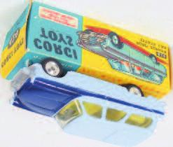 1632 Corgi Toys, 424, Ford Zephyr estate car, pale blue body with dark blue bonnet and side flash, yellow interior, clear window glazing, spun hubs, in the original blue and yellow
