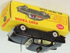 Lot 2016 2016 Dinky Toys, 264 RCMP Patrol Car, blue body with cream interior, driver and passenger figures, with red roof lift