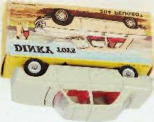 558 Citroen 2CV, pale yellow body, brown roof, red interior, concave hubs, in the original all card picture sided box (VG- BGVG)