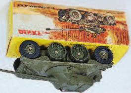 2029 French Dinky Toys, No.813 Military AMX with 155mm gun, green body with grey tracks, with original netting, in the original all card box (NMM-BVG) 100-120 2030 French Dinky Toys, No.