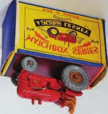 blue body with orange metal wheels, in the original all card type A box (VGNM-BVG) 40-60 2314 Matchbox 1-75 4A Massey Harris Tractor, red body with type A mud guards, gold hubs, tan driver with open