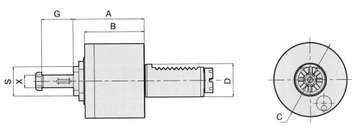 Baruffaldi Axial Drilling & Milling Head w/ Collet Chuck Applications: For Endmilling, Drilling, Reaming For Clockwise and anti-clockwise rotation To be used for collet 6499 External coolant supply