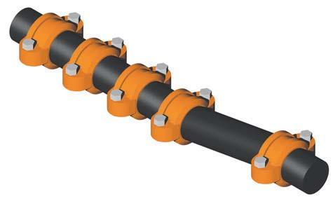 PRSSUR & DSIGN D GRINNLL Flexible Couplings provide for restrained joints and allow for deflection to aid where the pipe or equipment is misaligned.