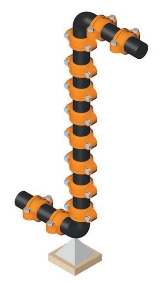 When using flexible couplings, the movement that occurs in long lengths of piping needs to be considered. ach joint can move up to the maximum pipe end separation published.