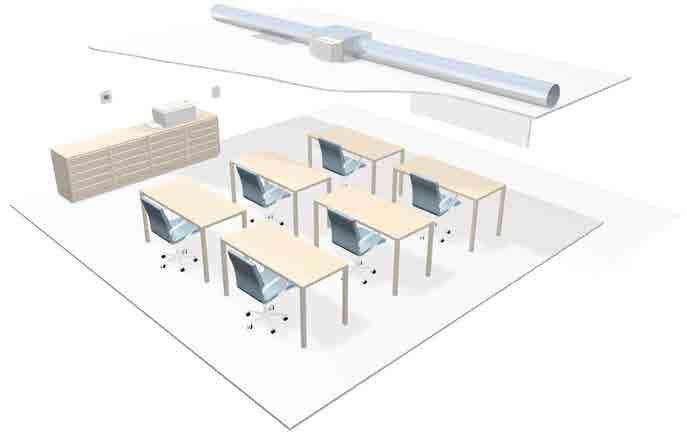 DCV CONTROLS A selection of our fans are available with DCV controls Typical Classroom Environment Pick up ducting for fan DCV Zone Controller